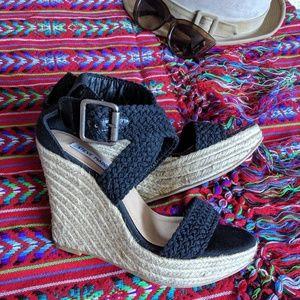 Braided Black Rope Wedge Sandals
